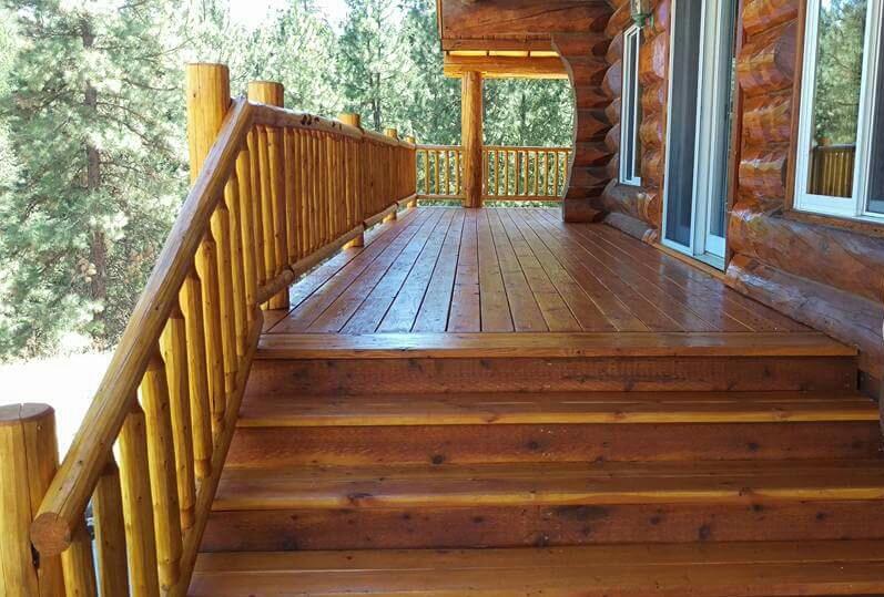 log home decks and railings brookstyle construction